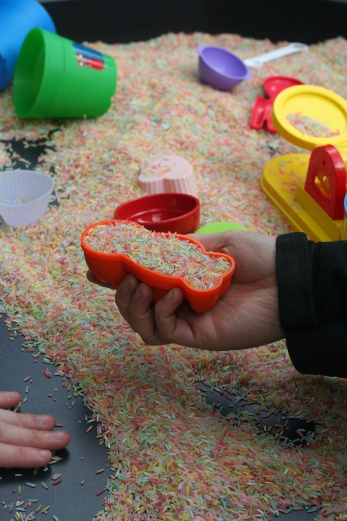 sensory multi-coloured rice play
